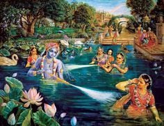 Krishna with Sri Radha and Gopis transcendental water sports