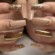 55 trendy rose gold nails you can& resist - nail designs . - 55 Trendy Rose Gold Nails You Can& Resist – Nail Designs – LastStepPin – 55 Trendy Rose - Gold Acrylic Nails, Rose Gold Nails, Acrylic Nail Designs, Nail Art Designs, Nails Design, Gold Nail Art, Gold Coffin Nails, Nail Designs With Gold, Nails With Gold