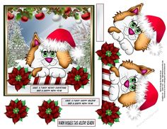 A cute little Christmas critter wearing Santa's hat on a cool winters day, There will be 6 in this set. Approx 6 x 6 topper, decoupage and a few sentiments with 1 blank. Thanks for taking a peek at my designs