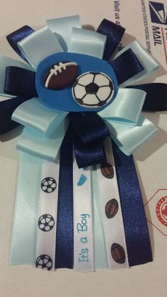 sports theme baby shower mom to be corsage