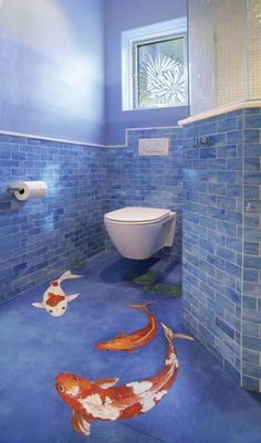 Japanese-inspired bathroom with hand-painted Koi pond tiles and Geberit wall-hung toilet--designed by Tess Giuliani