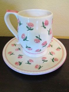Vintage INSPIRADO Tea Cup and Saucer Roses Gorgeous Set White & Pink