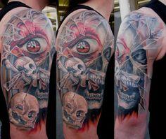 Skull tattoo breaking glass design by Miro Pridal