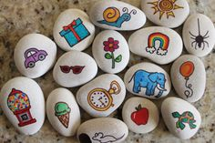 Story Stones or Story Starters! These hand crafted stones are awesome for children and adults alike! They are great for engaging children and pulling them away from the electronic Stone Art Painting, Pebble Painting, Rock Painting, Preschool Crafts, Crafts To Make, Crafts For Kids, Prayer Rocks, Story Stones, Story Starters