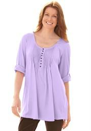 Plus Size Tunic top in solid knit, with graduated pleats, Henley neck