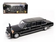 1983 Cadillac Fleetwood Presidential Limousine With Flags 1/24 Diecast Car Model by Road Signature - Brand new 1:24 scale diecast model of 1983 Cadillac Fleetwood Presidential Limousine 1/24 Diecast Car Model by Road Signature. Has steerable wheels. Brand new box. Rubber tires. Comes with flags to attach. Has opening hood, doors and trunk. Made of diecast with some plastic parts. Detailed interior, exterior, engine compartment die cast model car. Dimensions approximately L-10.5, W-4.5, H-4…