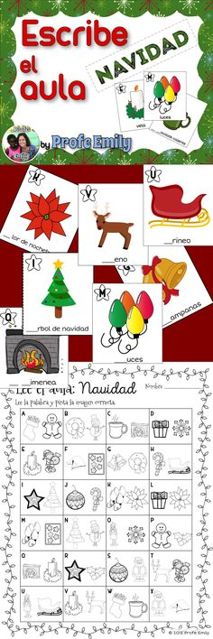 Spanish Read/Write the Room - Christmas edition. Practice initial sounds and Christmas vocabulary with 4 versions in one download!