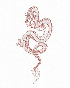 Super Red Chinese Dragon Tattoo Back Ideas Dragon Tattoo Leg, Small Dragon Tattoos, Dragon Tattoo For Women, Japanese Dragon Tattoos, Dragon Tattoo Designs, Small Tattoos, Dragon Tattoo Sketch, Dragon Sleeve Tattoos, Chinese Dragon Drawing