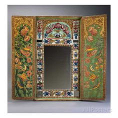 A Large Qajar Painted Mirror and Case, the Interior Doors with Gul-O-Bulbul Designs Painted on a… Prints at AllPosters.com