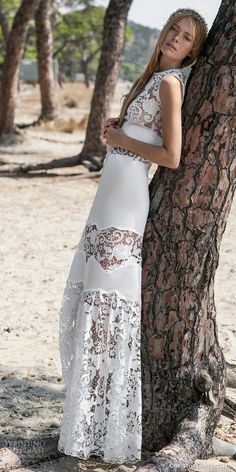 christos costarellos bridal spring 2016 romantic sleeveless wedding dress openwork lace sheer bodice beach weddings