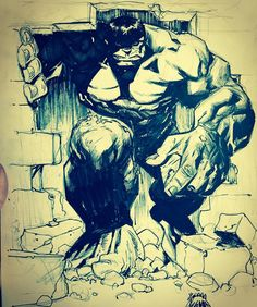 Daily sketch—HULK!!! Watch me draw it at periscope.tv/ryanstegman