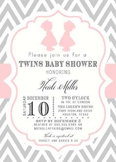 Gray and Pink Chevron Twin Girls Silhouettes Baby Shower Invitation