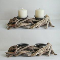 Bring the outdoors inside with this rustic candle holder made from driftwood and designed to hold two pillars candles of your choice. It's perfect for a patio or to complete your coastal look. Driftwood Candle Holders, Rustic Candle Holders, Rustic Candles, Pillar Candles, Rustic Wood, Candle Wax, Beeswax Candles, Soy Candle, Driftwood Furniture