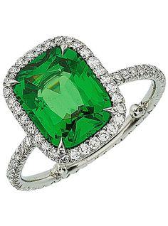 Tsavorite Garnet, Diamond, and Platinum Ring, Eclat Jewels
