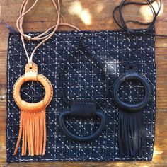 Bandelier leather necklaces | MohawkGeneralStore  I would like to make this covered ring necklace without the fringe