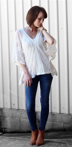 Ivory cherish lace blouse