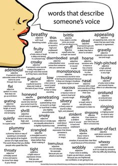 Words that describe someones voice.