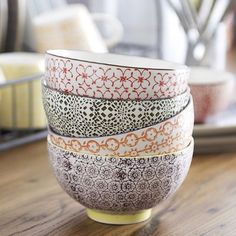TRADEWINDS VERY USEFUL BOWLS    Our new Tradewinds range of handprinted ceramics includes this set of four very useful bowls - for cereal, soup, snacks etc etc - the perfect size.