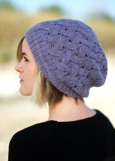 Woolly Wormhead - QL Slouch - reversible lace Hat knitting pattern
