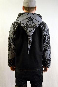 Men's Sacred Geometry Hoodie Metatrons Cube by whimzicalCouture