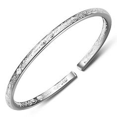 Women's 999 Solid Sterling Silver Flower Carved Cuff Bracelets 25g Weight for Wedding Gift