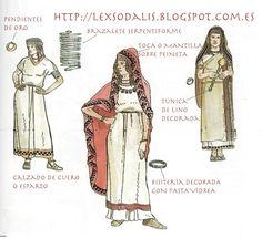 Lex Sodalis: Vestimenta Ibera III: El traje femenino Ancient Rome, Ancient History, Rome Map, Spain History, Elfa, Spanish Fashion, Mystery Of History, Ancient Jewelry, Medieval Fantasy