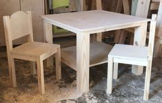 How to Build a DIY Kids Table and Chairs – Free Construction Plans - Diy Furniture Small Kids Table, Kids Craft Tables, Small Table And Chairs, Kids Play Table, Toddler Table And Chairs, Kid Table, High Chairs, Woodworking Furniture, Furniture Plans