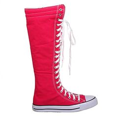 Amazon.com | Canvas Sneakers Ladies Flat Tall Punk Womens Skate Shoes Lace up Knee High Boots (6, fuchsia) [Apparel] | Knee-High