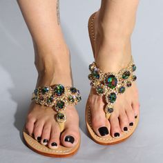 hot sale online bede8 8245f Leather Embellished Sandals for Summer Cute Flats, Cute Sandals, Flat  Sandals, Shoes Sandals