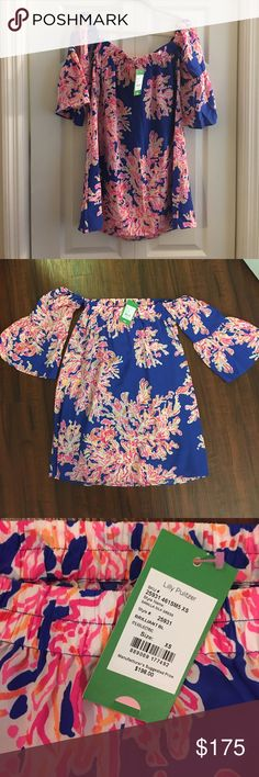 Lilly Pulitzer XS Sanilla Off the Shoulder Dress Beautiful silk Lilly Pulitzer Dress that is off the shoulder with bell sleeves. Perfect for any occasion. I bought for a gender reveal party and ended up wearing a different dress. Brand new, never worn. Lilly Pulitzer Dresses