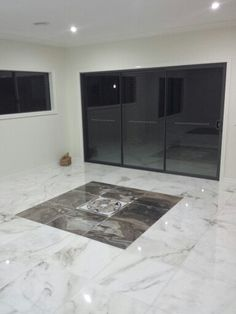 Laser cut marble feature floor tiles in the living room