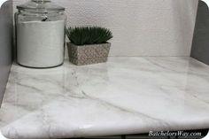 $30 DIY Faux Marble Countertops