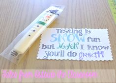 Use snowmen out of string cheese and this cute tag to boost kids before stressful state testing.