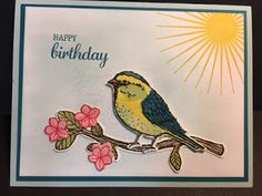 My Creative Corner!: Happy Birthday, Kinda Eclectic, Birthday Card, Best Bird, Birds and Blossoms, Stampin' Up!, Rubber Stamping, Handmade Cards