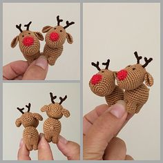 Ravelry: Three Little Reindeer crochet pattern by Uljana Semikrasa. These DIY mini reindeer could easily be hung on the Christmas tree a s ornaments. If you used different yarns and hooks, you could make them in all different sizes. Crochet Christmas Decorations, Christmas Crochet Patterns, Holiday Crochet, Crochet Animal Patterns, Crochet Patterns Amigurumi, Amigurumi Doll, Crochet Dolls, Crochet Yarn, Irish Crochet
