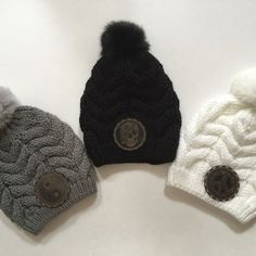 Fur Pom Pom Beanie with Your Choice of Yin Yang 2be0e6a98ae9