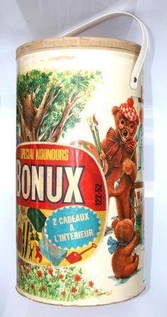 """Le gros baril cartonné de lessive """" BONUX"""" avec 2 cadeaux ! bonux"""