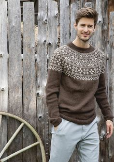 6 - Sweater for men w/round yoke, knitted in Alpakka Ull Drops Karisma, Big Comfy Sweaters, Ravelry, Drops Baby, Big Knits, Men's Knits, Laid Back Style, Fair Isle Knitting, Sweater Knitting Patterns