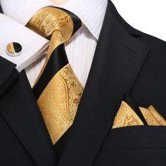 "3pc Silk Necktie Set Color: Black and Gold 59"" Length, 3.25"" Width"