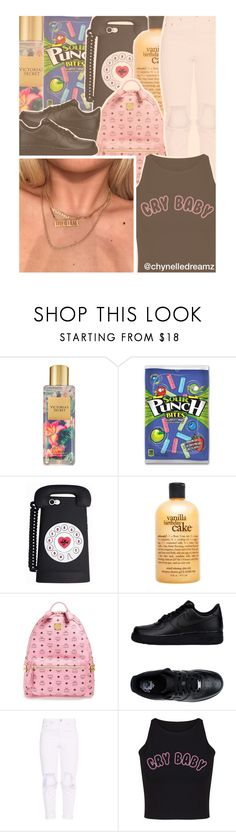 """""""Cry Baby"""" by chynelledreamz ❤ liked on Polyvore featuring Victoria's Secret, philosophy, MCM and NIKE"""
