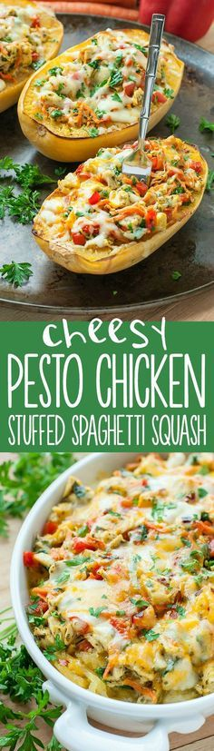 Cheesy Pesto Chicken and Veggie Stuffed Spaghetti Squash :: veggies have never tasted so good!