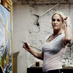 Love my job :) #painting #makingart #create #studioshot #flyfishingart #catchingpaint photo by @ascarlati www.admaddox.com