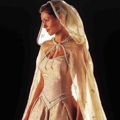 Yeah, like this one. Lacy, gauze-y wedding hood.