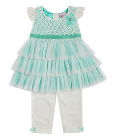 Look at this Mint Lace Layered Tunic & Leggings - Toddler & Girls on #zulily today!