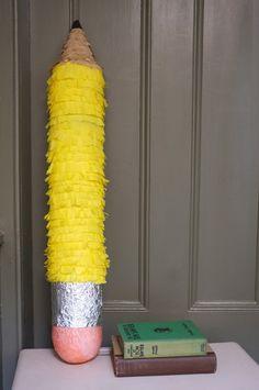 This would make a great first day of school/ back to school pinata! Back To School Party, School Parties, Mason Jar Crafts, Mason Jar Diy, Diy Piñata, Crafts To Make And Sell, Art Party, Crayon, Pencil