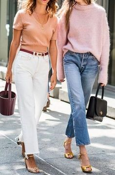 High-waisted denim in rigid fabrication and straight-leg silhouettes officially replaced the skinny this year. Pair it with a pink sweater or a coral top!