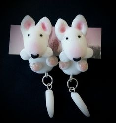 Cute bull terrier earrings.