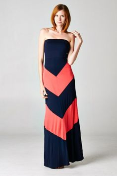 9c7506a9a2 NanaMacs Boutique - NAVY & CORAL CHEVRON MAXI $32.00 Coral Chevron, Chevron  Dress, Black