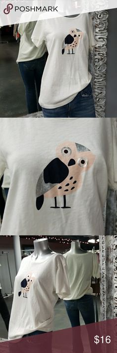 🦄J. CREW Metallic OWL TEE Super cute for weekend wear or casual day.    Why SHOP MY Closet? 💋Most NWT or Worn Once 💋Smoke/ Pet Free 💋OVER 850 🌟🌟🌟🌟🌟RATINGS & RISING! 💋POSH AMBASSADOR &TOP 10% Seller  💋TOP RATED 💋 FAST SHIPPER  💋BUNDLES DISCOUNT 💋EARN VIP $$$- SPEND ANYTIME  💋QUESTIONS?? PLEASE ASK! ❤HAPPY POSHING!!! 💕 J. Crew Tops Tees - Short Sleeve