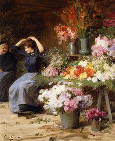 ART FINE~ The Flower Merchants~ Marchande De Fleurs Print ~ by Victor Gabriel Gilbert